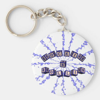 Rockin N Rollin toy blocks in blue Basic Round Button Keychain