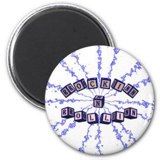 Rockin N Rollin toy blocks in blue 2 Inch Round Magnet