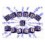 Rockin N Rollin toy blocks in blue Post Cards
