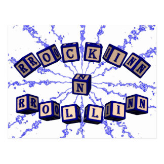 Rockin N Rollin toy blocks in blue Postcard