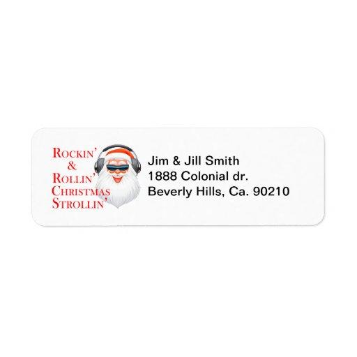 Rockin Papá Noel fresco con los auriculares Etiqueta De Remite