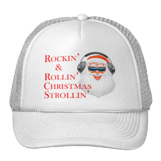 Rockin Papá Noel fresco con los auriculares Gorros