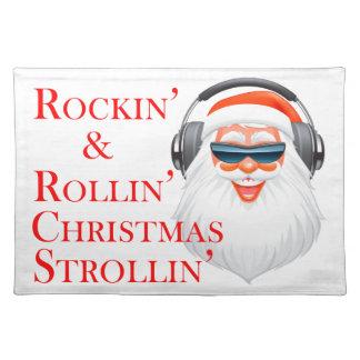 Rockin Papá Noel fresco con los auriculares Mantel