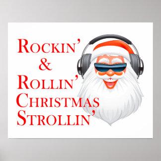 Rockin Papá Noel fresco con los auriculares Póster