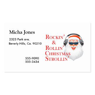 Rockin Papá Noel fresco con los auriculares Tarjetas De Visita