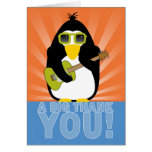 Rockin' Penguin with Guitar Thank You Stationery Note Card
