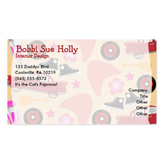 Rockin Pink Fifties Pattern Double-Sided Standard Business Cards (Pack Of 100)