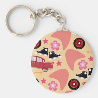 Rockin Pink Fifties Pattern Keychain