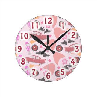 Rockin Pink Fifties Pattern Round Clock