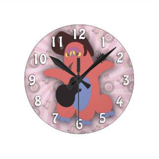Rockin Pompadour Rock Monster Round Clock