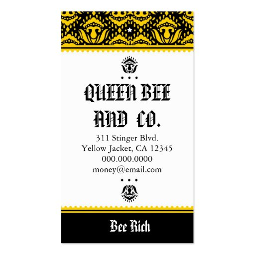 Rockin39 queen bee business cards zazzle for Bee business cards