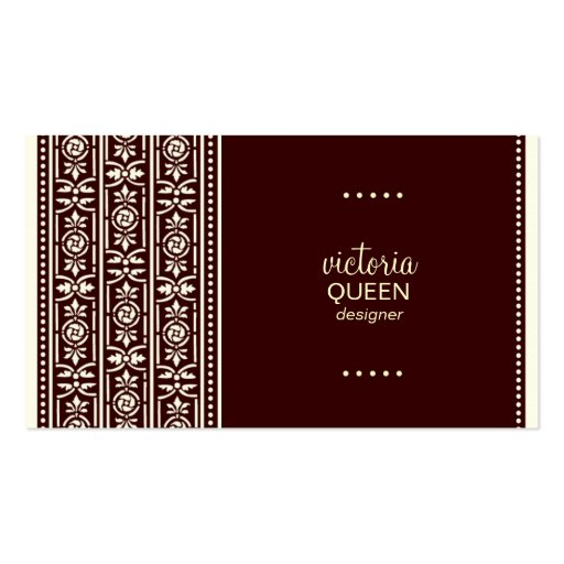ROCKIN' QUEEN VICTORIA MAHOGANY BUSINESS CARD