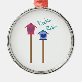 Rockin Robin Round Metal Christmas Ornament