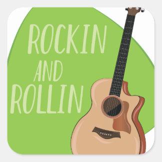 Rockin Rollin Pegatina Cuadrada