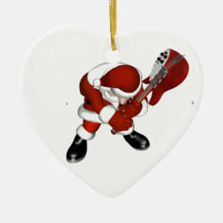 ROCKIN SANTA CERAMIC ORNAMENT