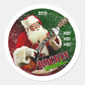 Rockin Santa Classic Round Sticker
