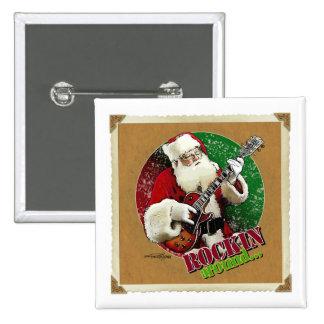 Rockin Santa Pinback Button