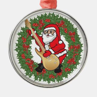 Rockin' Santa Skull Metal Ornament