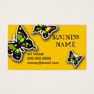 ROCKIN' STAINGLASS BUTTERFY YELLOW BUSINESS CARD