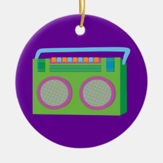 Rockin' Stereo Double-Sided Ceramic Round Christmas Ornament