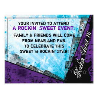 Rockin Sweet Sixteen Birthday Personalized Invite