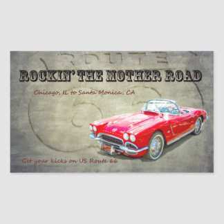 Rockin the Mother Road Route 66 Rectangular Sticker