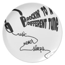 Rockin' to a Different Tune - Music Never Sleeps Melamine Plate