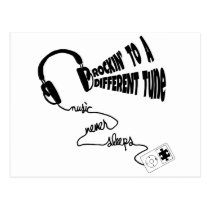 Rockin' to a Different Tune - Music Never Sleeps Postcard