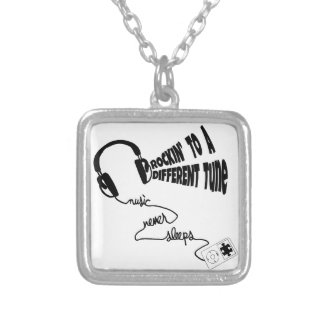 Rockin' to a Different Tune - Music Never Sleeps Silver Plated Necklace