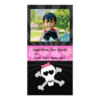Rockin' Valentines Skull Monster Girl's Valentine Card