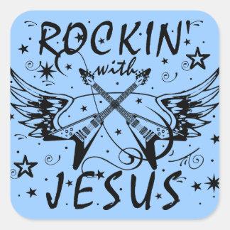 Rockin With Jesus Square Sticker