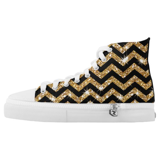 Rocking Black and Gold Glitter Chevron Design Shoe
