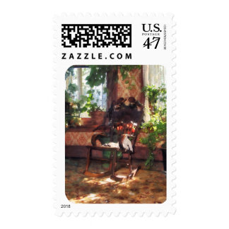 Rocking Chair in Victorian Parlor Postage