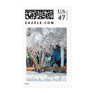 Rocking Chair on Porch in Winter Postage