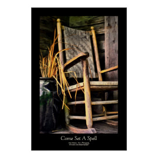 Rocking Chair on Porch Painting Style Black Border Poster