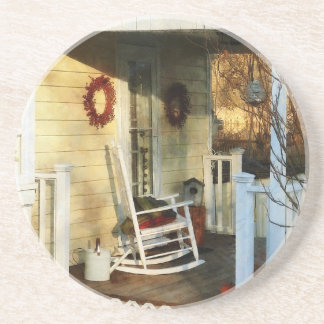 Rocking Chair on Side Porch Beverage Coasters