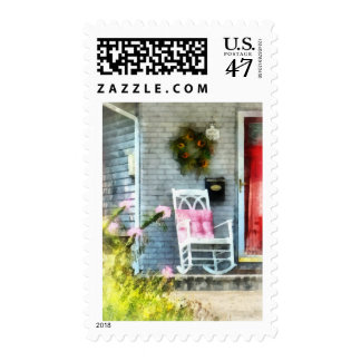 Rocking Chair With Pink Pillow Stamp