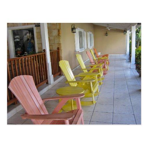 rocking chairs in the verandah postcard