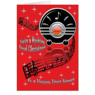 Rocking Christmas - Art Deco Radio (Personalized) Card