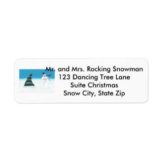 Rocking Dancing Snowman Christmas Address Labels