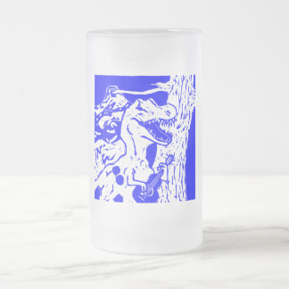 Rocking Dino Frosted Glass Beer Mug