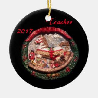 ROCKING HORSE 2017 TEACHER COLLECTOR XMAS ORNAMENT