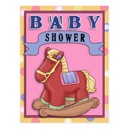 Rocking Horse 2 Baby Shower Postcard Invitation
