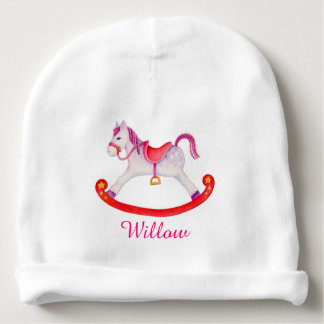 Rocking horse add your own name baby girl beanie