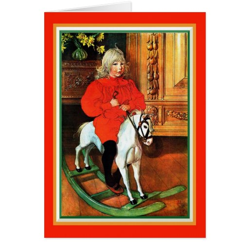 Rocking Horse and Child Vintage Christmas Greeting Card