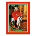 Rocking Horse and Child Vintage Christmas Custom Greeting Card