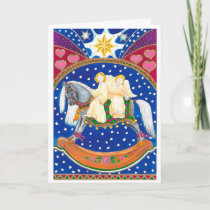 Rocking horse angels Christmas Card