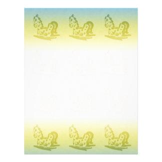 Rocking Horse (Aqua / Chartreuse) Writing Paper Letterhead