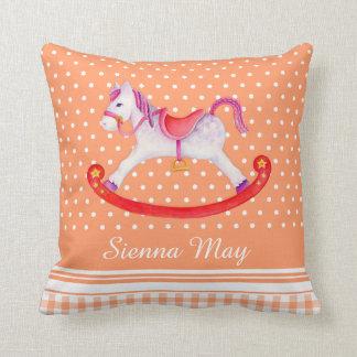 Rocking horse art orange peach name kids pillow