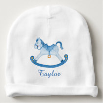 Rocking horse art personalized baby boy beanie